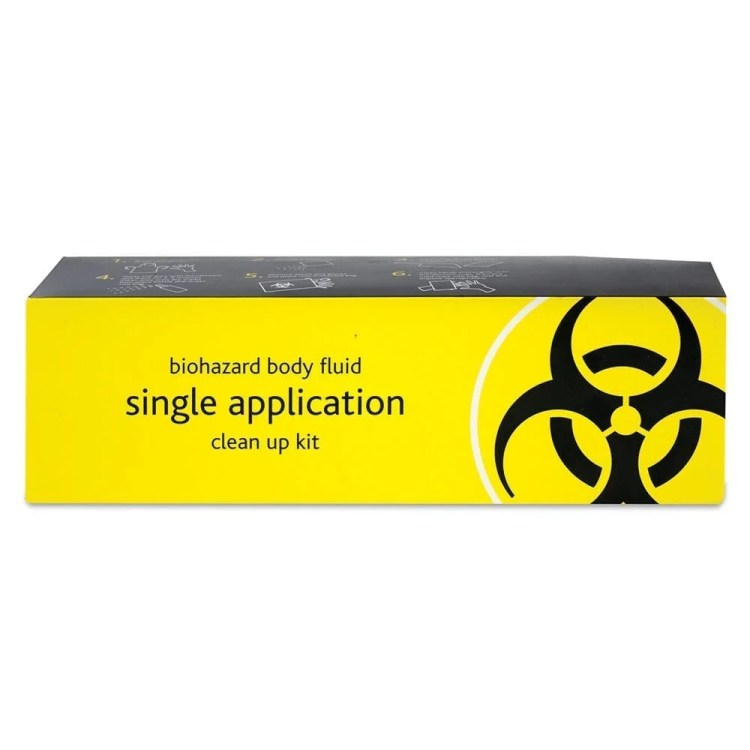 A single application body fluid clean up kit.