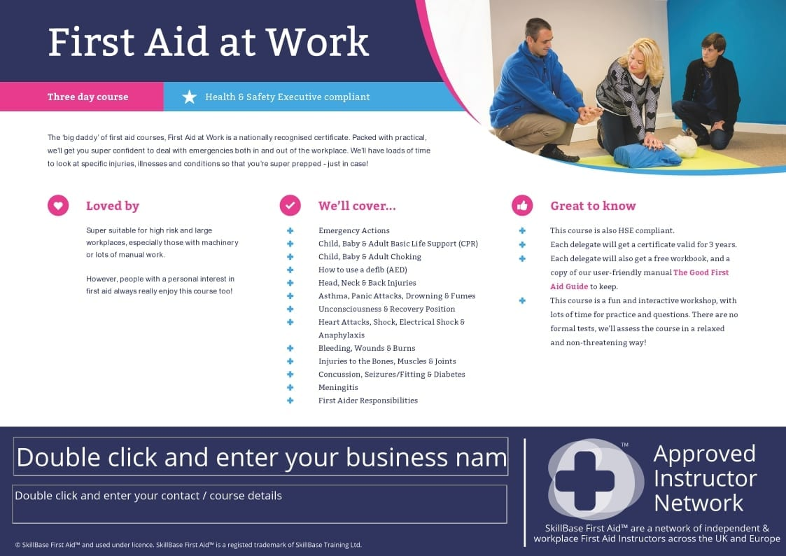 Editable Course Fact Sheet / Leaflet First Aid at Work | SkillBase