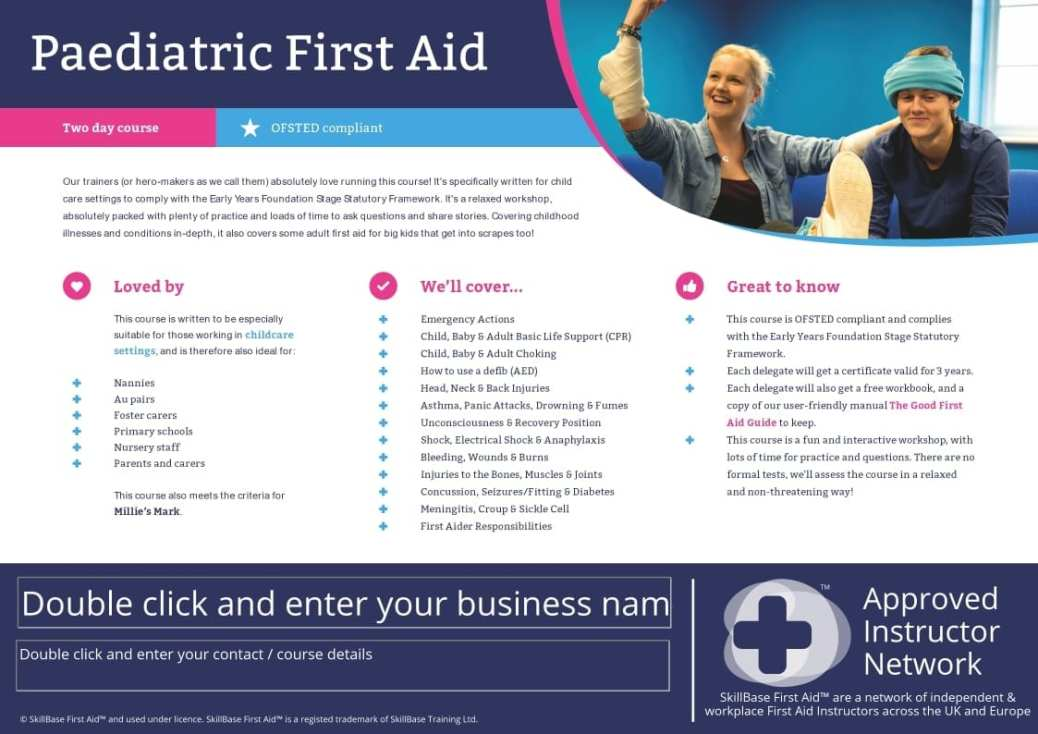 Editable Course Fact Sheet / Leaflet Paediatric First Aid