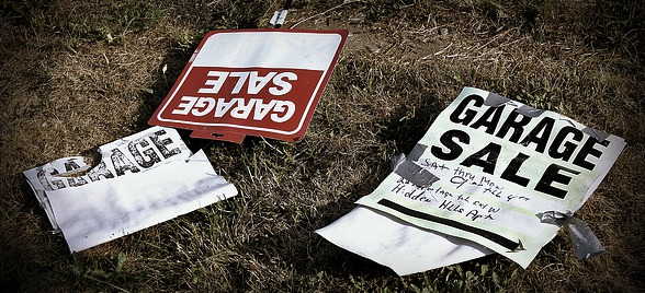 barter economy garage sale signs