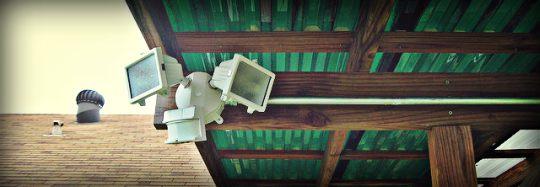 motion sensor lights under roof line