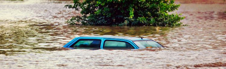 Flooded Street Underwater Car