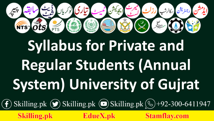 Syllabus for Private and Regular Students (Annual System) University of Gujrat