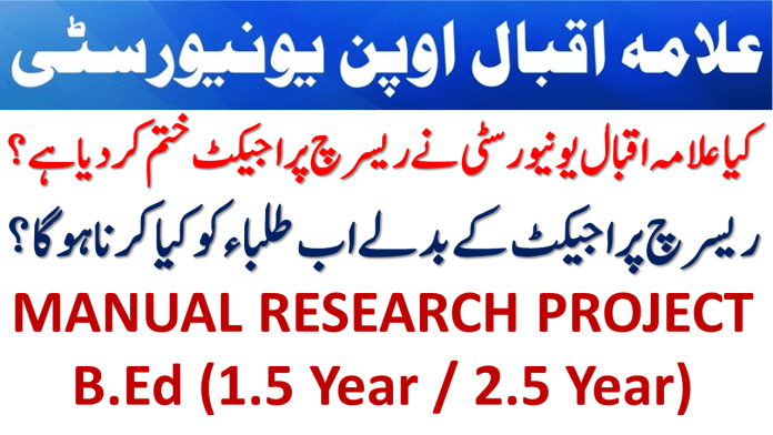 MANUAL RESEARCH PROJECT B.Ed (1.5 Year / 2.5 Year) Course Code: 8613