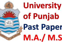Punjab University Lahore Past Papers of M.A./ M.Sc. Download PDF
