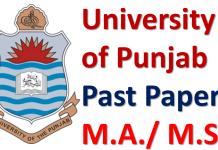 Punjab University Lahore Past Papers of M.A./ M.Sc. Download PDF