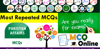 Pakistan Current Affairs MCQs for Preparation for NTS TEST, FPSC TEST