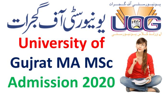 University of Gujrat MA MSc Admission Form