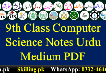 9th Class Computer Science Notes Urdu Medium PDF