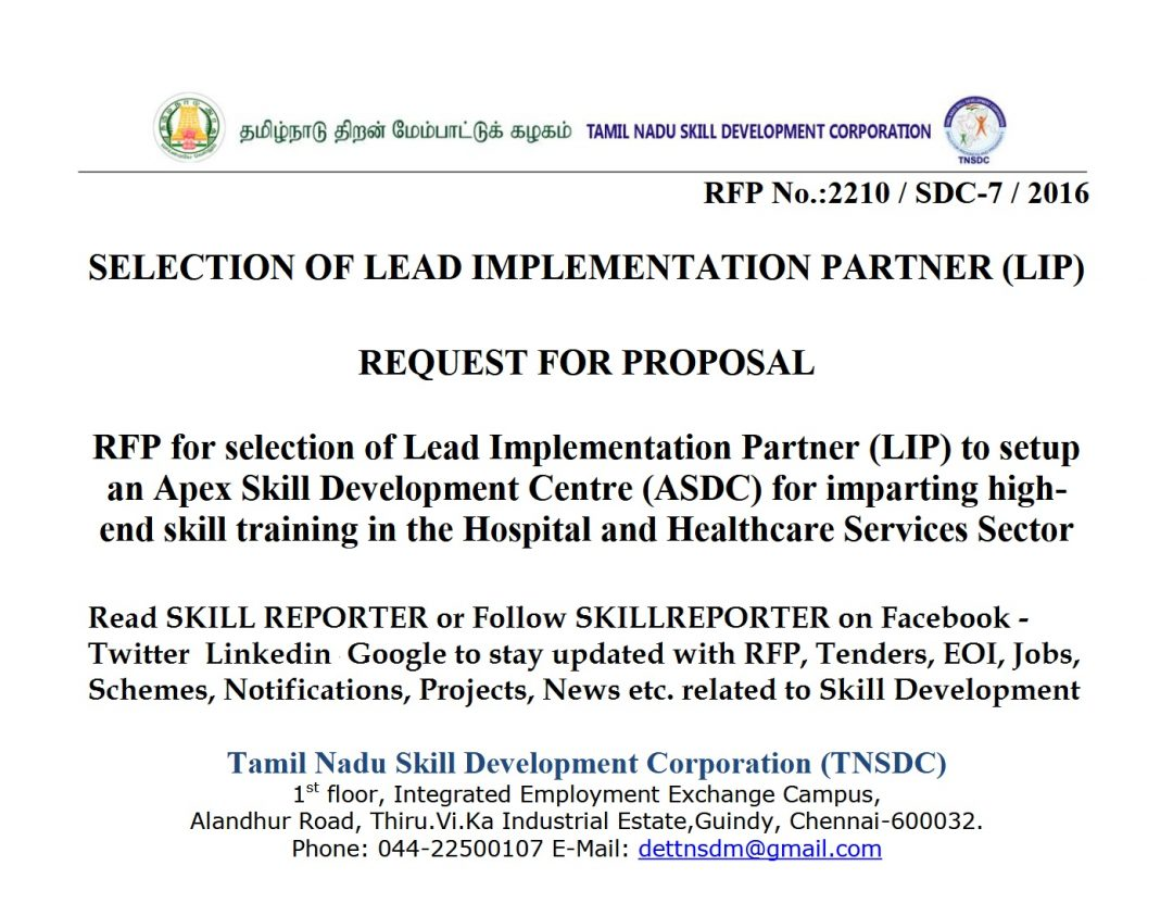 RFP for Selection of Lead Implementation Partner to setup an Apex