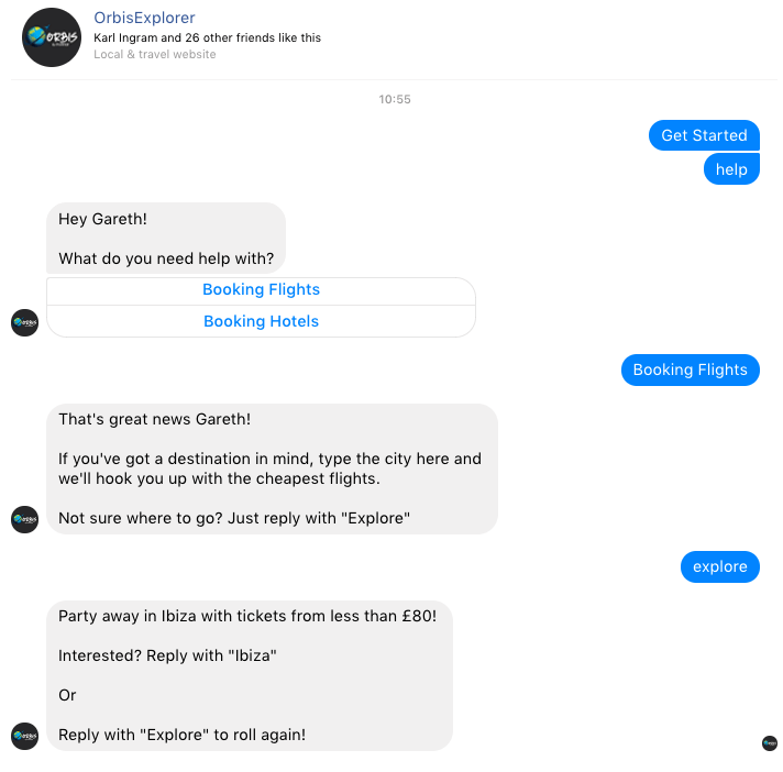 OrbisExplorer Facebook Chatbot