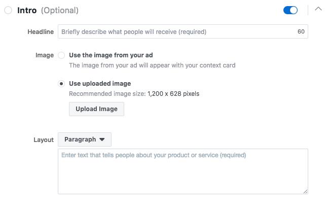 Facebook Lead Form Intro