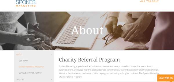 Spokes Marketing Charity Referral Program