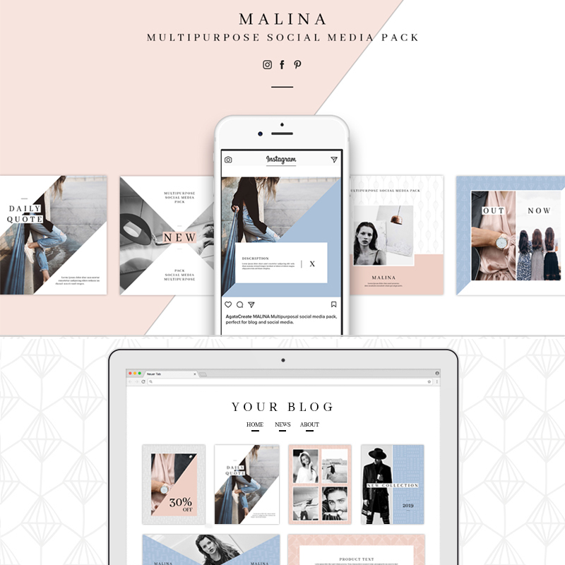 Malina Social Media Pack 20 Pattern Bundle