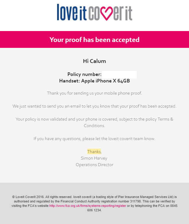Confirmation Email Example