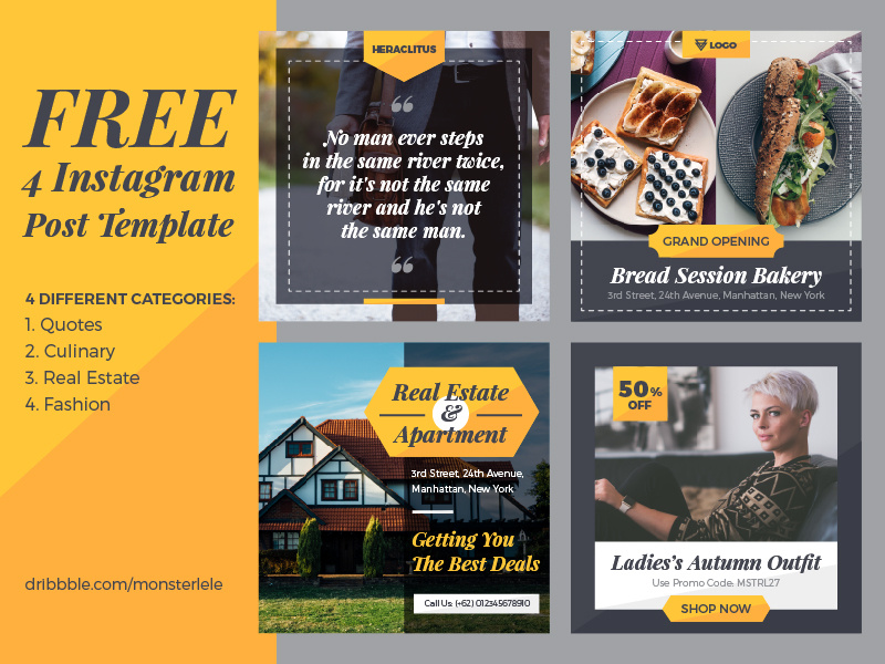 FREE 4 Instagram Post Templates