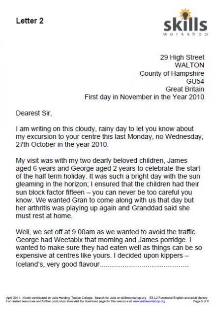 Writing a letter of complaint  Skills Workshop