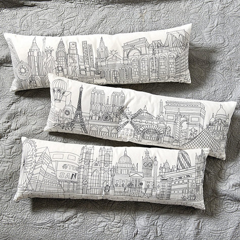 Embroidered City Skyline Pillow from Ballard Designs