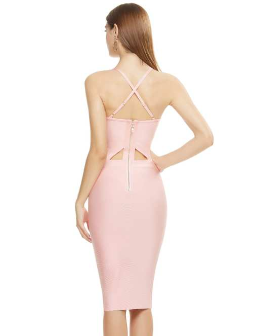 Beautiful Pink Women Plus Size High Waist Lace Bandage Dress