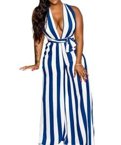 H195083 BU1 2 Elegant and Gorgeous  Blue Open Side Wide Strap Jumpsuit