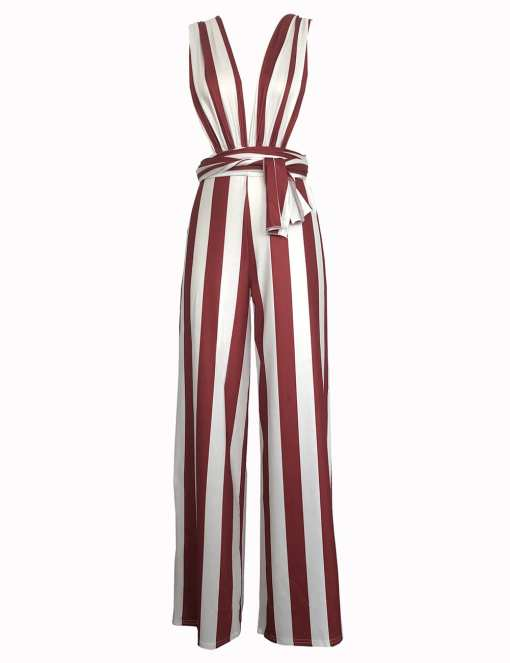 H195083 RD3 3 Elegant and Gorgeous  Wine Red Open Side Wide Strap Jumpsuit
