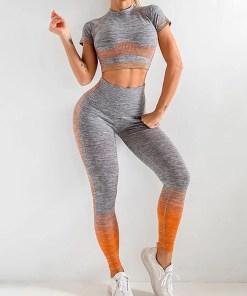 YD200058 OG2 Maldonado Scintillating Crop Top Seamless High Waist Pants Women's Activewear