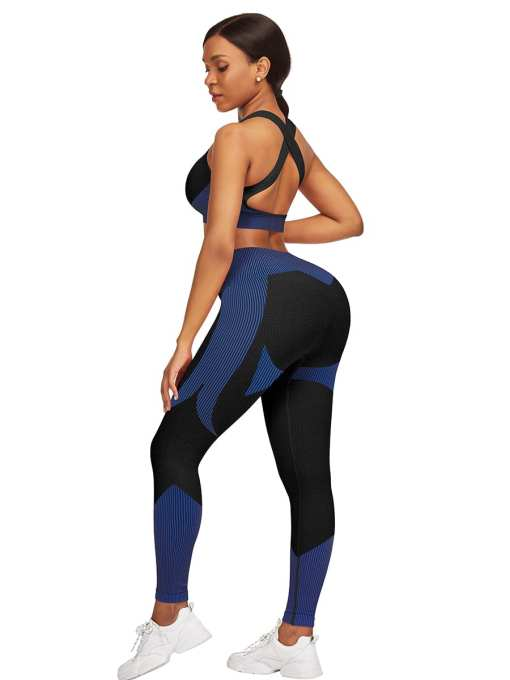YD200306 BU2 5 Athletic and Fabulous  Strap Crop Top High Waist Leggings