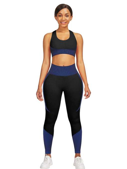 YD200306 BU2 Athletic and Fabulous  Strap Crop Top High Waist Leggings