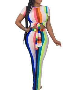 Fitting Bodycon Fit Mixed Color Short Sleeve Knotted Round