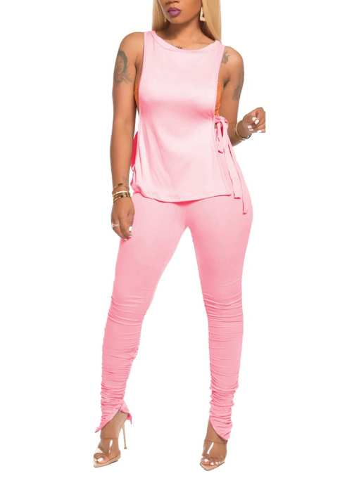 Classy Yet Elegant Tank Shirt Side Slit Ruched Pants For Holiday