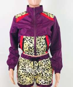 VZ192552 PL1 3 Chic Elasticated Purple 2-Piece Zipper Long Sleeve High Rise