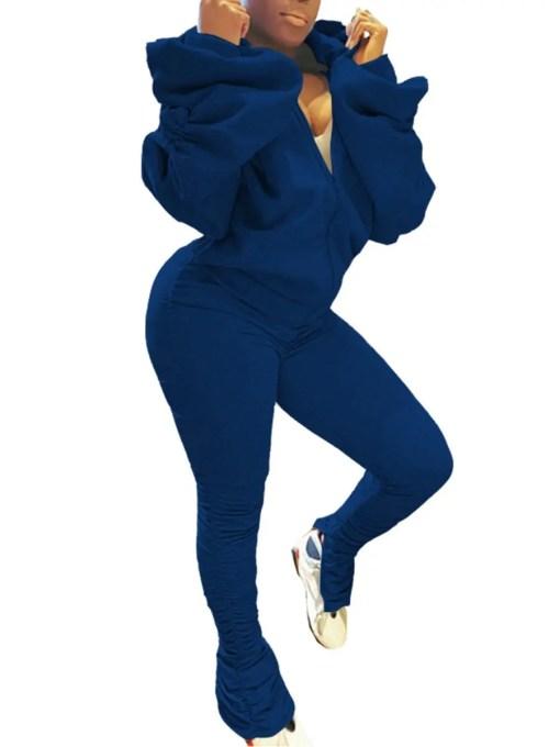 VZ200434 BU1 Chic High Rise Women Suit Long Sleeve Delightful Garment