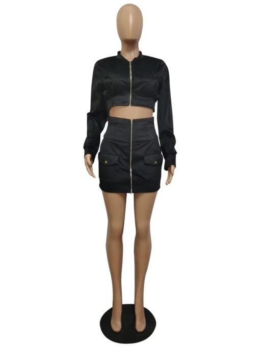 VZ200460 BK1 5 Chic Long Sleeve High Waist Women Suit Casual Wear