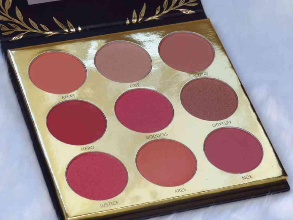 Kleuren overzicht athena oogschaduwpalette laritzy cosmetics Matte oogschaduw, glinsterend, sterk pigment, felle kleuren, nude