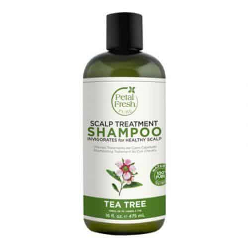 Petal fresh pure tea tree shampoo, droge hoofdhuid, zonder sulfaten, zonder parabenen, vegan, dierproefvrij, hydraterend, beschermend, antioxidanten