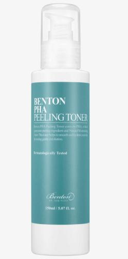 Benton PHa peeling toner, exfoliëren, dode huidcellen verwijderen, gevoelige huid, hyaluronzuur