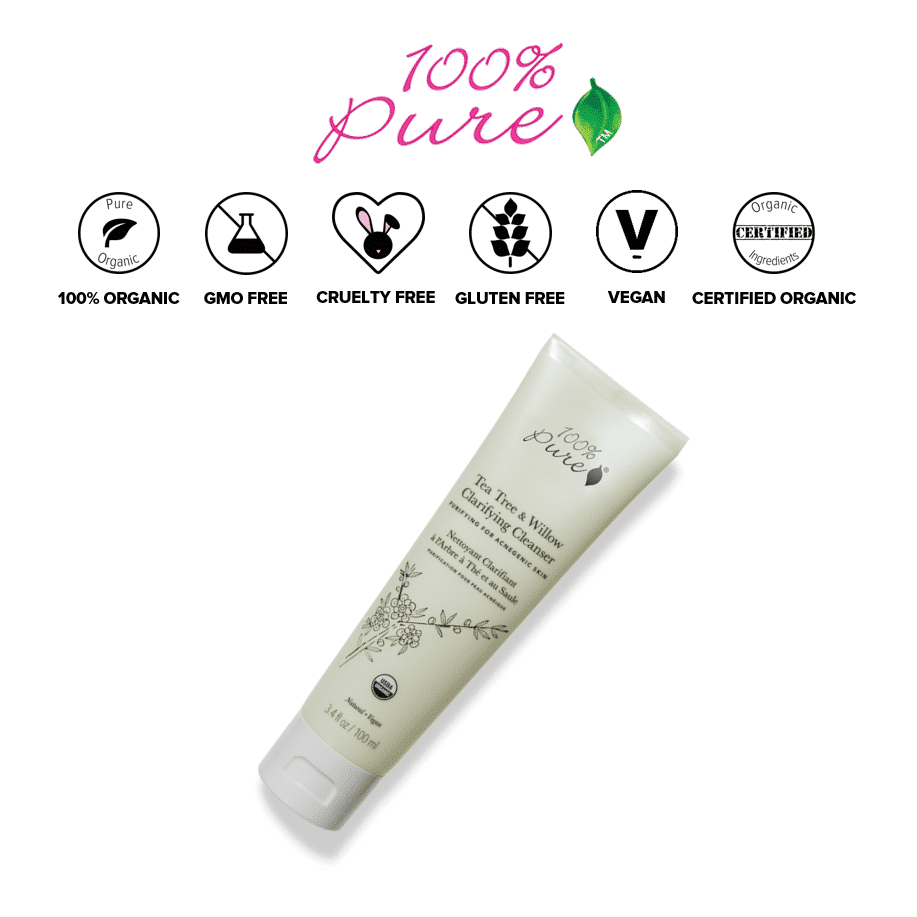 *100% PURE – TEA TREE OIL & WILLOW ACNE CLEAR USDA ORGANIC CLEANSER | $34 |