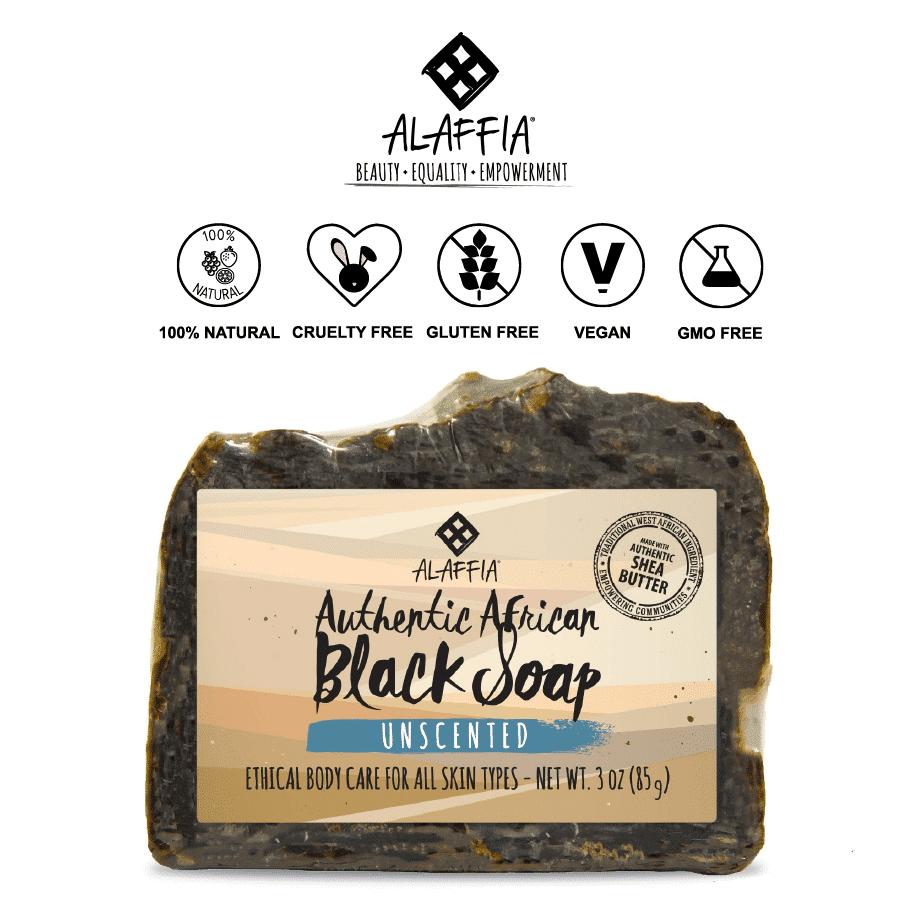 *ALAFFIA – NATURAL AFRICAN BLACK SOAP BAR   $6.39  