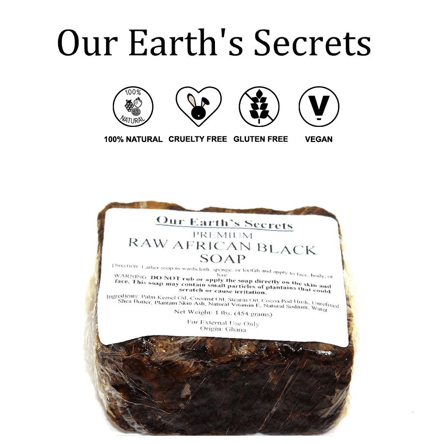 *OUR EARTH'S SECRETS – ORGANIC AFRICAN BLACK SOAP BAR   $11.50  