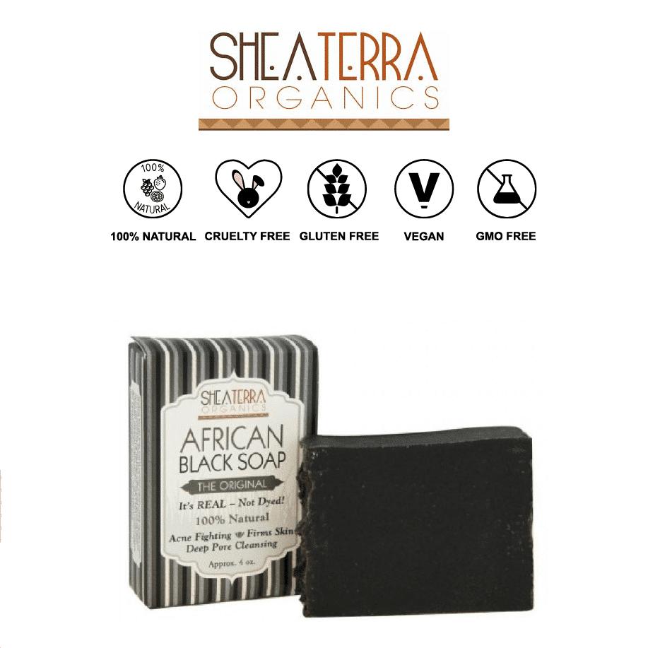 *SHEA TERRA ORGANICS – ORGANIC AFRICAN BLACK SOAP BAR   $11.23  