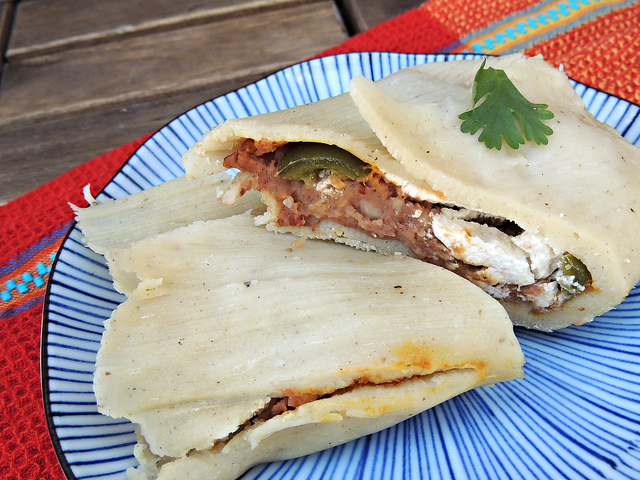 Pumpkin, Bean and Goat Cheese Vegetarian Tamales Recipe