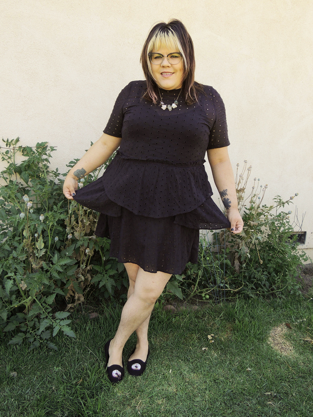Fatshion: Black Eyelet Dress