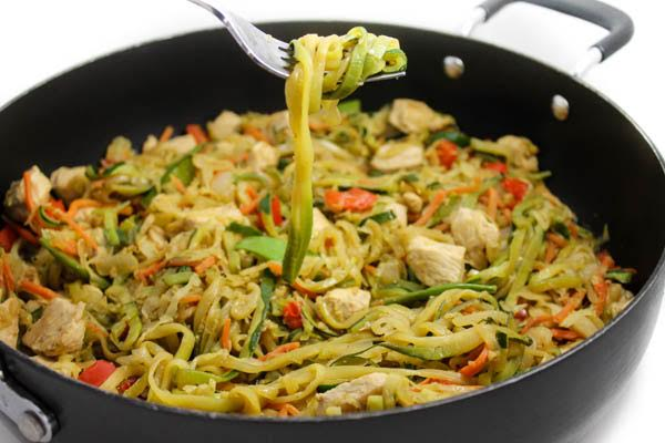 Healthy Chicken Lo Mein With Zoodles With Weight Watchers Points Skinny Kitchen