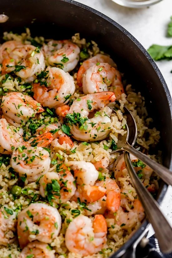 I love this quick and easy Shrimp, Peas and Rice dish, which can be made with white or brown rice.