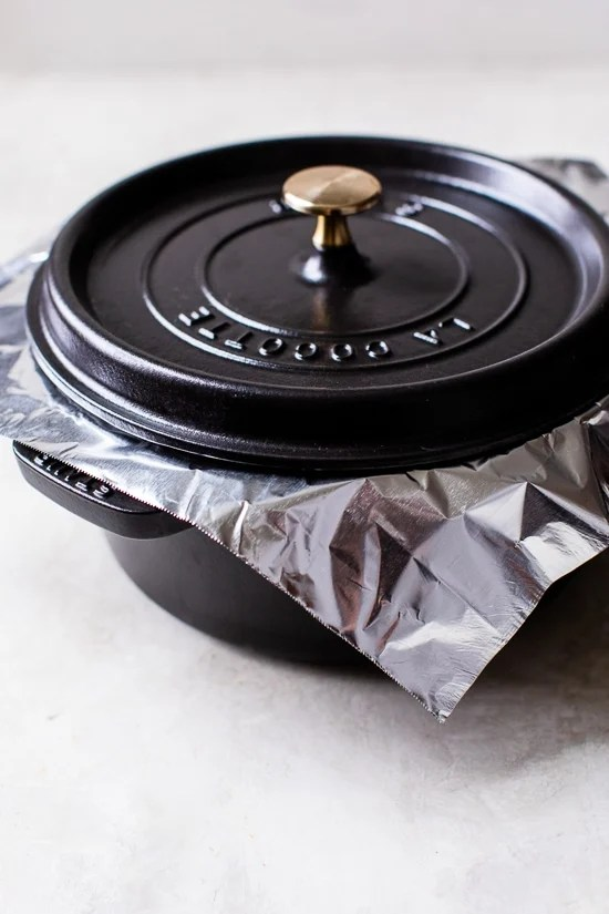Use foil on a pot to make rice to get a good seal.
