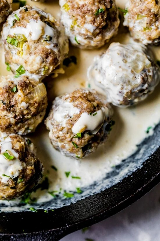 My family loves these Swedish meatballs. They are so tender and flavorful and much lighter than traditional recipes out there. And, let's not forget the sauce! The creamy sauce really makes the dish.