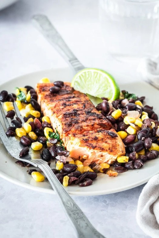 Spiced Rubbed Grilled Salmon with Black Beans Corn Salsa