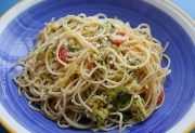 angel hair with zucchini and tomatoes