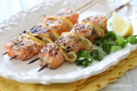 These lovely grilled salmon and lemon kabobs are delicious and easy to make – with mega omegas in every bite! Seasoned with fresh herbs, lemon, and spices and grilled to perfection.