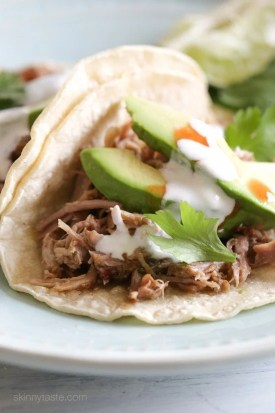 Delicious Mexican pork made in the Instant Pot (pressure cooker) for tacos, burrito bowls, taco salads and more (also great with cilantro lime rice)!